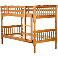 "100% Solid Wood Arlington Twin Over Twin Bunk Bed by Palace Imports, Honey Pine Color, 65""h, 8 Slats Included. Optional Pack of 18 Slats, Trundle, Drawers, Safety Rail Guard Sold Separately."
