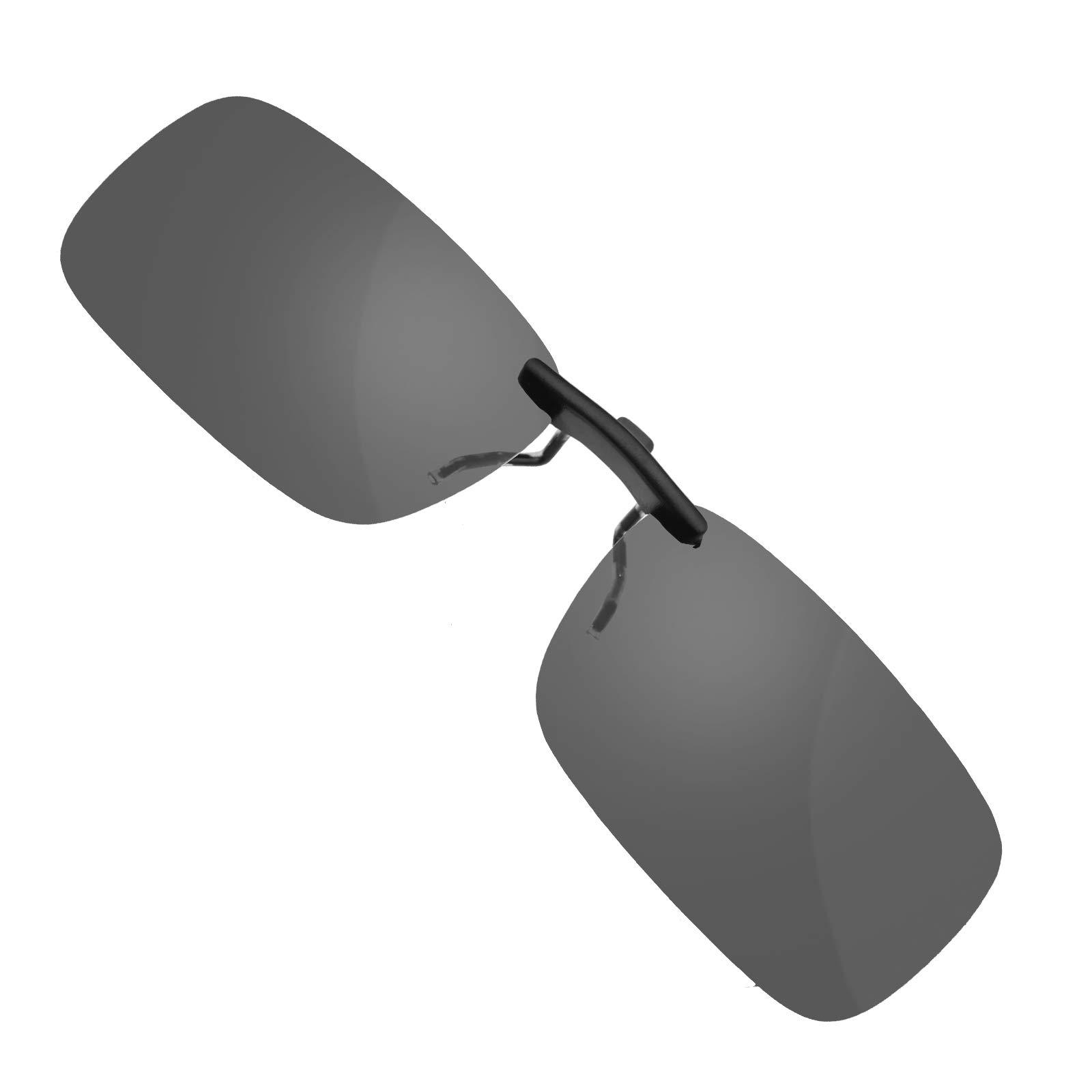 Frameless Driving Polarized Clip-on Glasses Lens Sunglasses UV400 Dark Grey