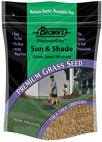 F.M. Brown's PlatinumElite Sun and Shade Grass Seed Mixture, 10 lbs. | 99.9% Weed Free, Fast-Growing Perennial Seeds for Beautiful Lawns