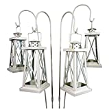 east2eden Set of 4 Cream Tea Light Garden Lanterns with Shepherds Crook
