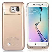 COOFUN Samsung Galaxy S6 Edge Charger Battery Case 4200mAh Ultra Slim Rechargeable Portable External Backup Battery Pack-Charger Cover-Protective Case Power Bank Case (Gold)