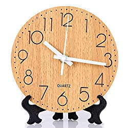 Tiords 6 inch  Wooden Round Silent Non-Ticking Table Clock, Battery Operated Sweep Mechanism