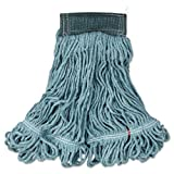 Rubbermaid Commercial Web Foot Wet Mops, Cotton/Synthetic, Green, Medium, 5-in. Green Headband - six mop heads per case.