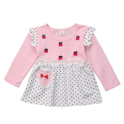 99cdb308c66c Amazon.com  KONFA Toddler Baby Girls Cherry Dots Print Dress ...