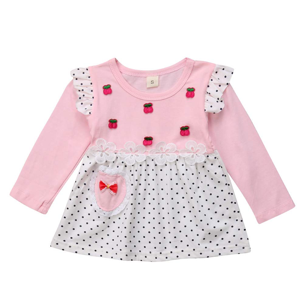f02c9de3f30 Amazon.com  Tronet Infant Baby Girls Winter Cherry Print Dot Long Sleeve  Princess Dress Warm Clothes  Clothing