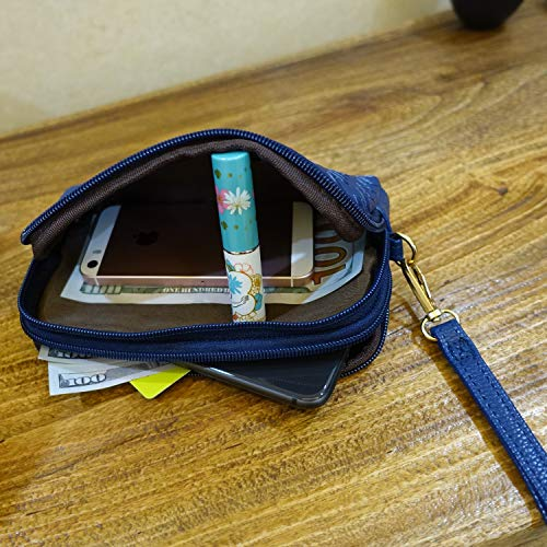 Wristlet Wallet with Strap for Women, Leather Wristlets Phone Purse Clutch for iphone (Wristlet blue) by JZE (Image #3)