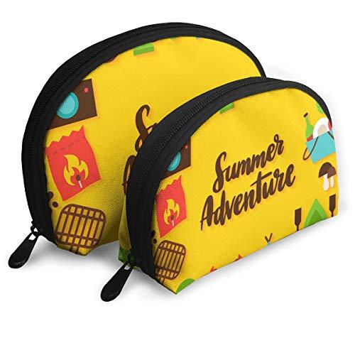(E46Dp1 Summer Adventure Lettering Postcard Travel Portable Cosmetic Bags Organizer Set of 2 Women Teens Girls)