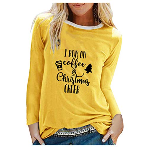 TWGONE I Run On Coffee and Christmas Cheer Shirt(XX-Large,Zc-Yellow)