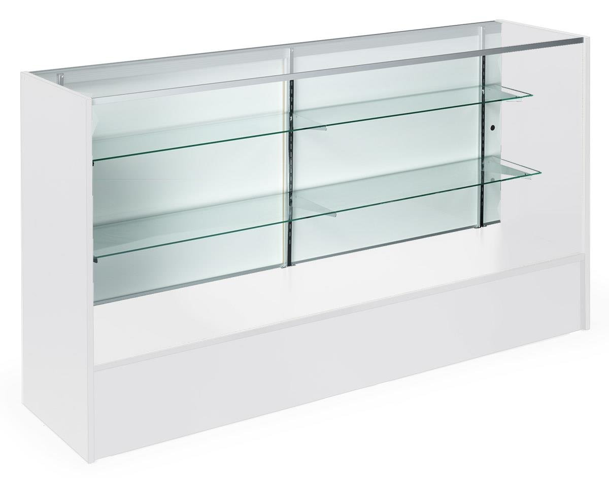 Displays2go White Store Display with 2 Shelves, Laminated Particle Board, Aluminum, Tempered Glass - White (MRC6WHTKD)