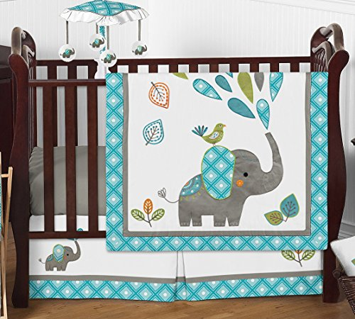 Turquoise Blue Gray and White Mod Elephant Girl or Boy Baby Bedding 4 Piece Crib Set Without Bumper by Sweet Jojo Designs
