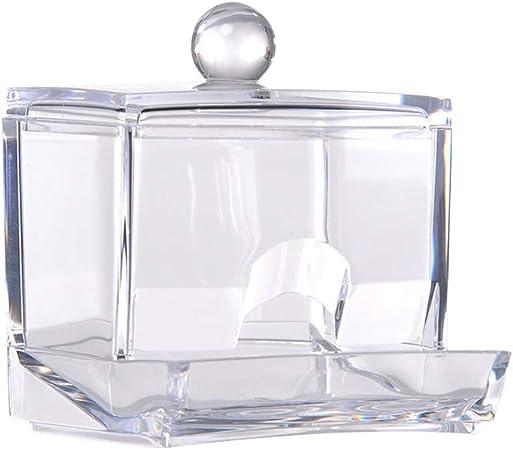 Soporte para bastoncillos de algodón, organizador de maquillaje, caja de algodón, dispensador de algodón, soporte de acrílico transparente con tapa: Amazon.es: Hogar