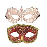 One Pair Couple's Venetian Masquerade Masks,Crown Mask Costumes Mardi Gras Prom Mask (Rose Gold+red)