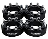 "Supreme Suspensions - (4pc) 1994-2009 Dodge Ram 2500 2"" Wheel Spacers 8x6.5"" (8x165.1mm) with 9/16""x18 Studs [Black]"