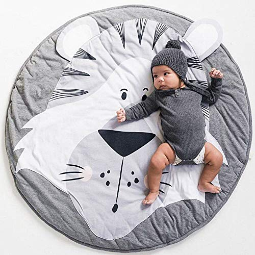 USTIDE Baby Rugs Creeping Crawling Mat Cartoon Sleeping Rugs, Children Anti-Slip Game Mat Cotton Floor Play Mat Blanket Play Environmental Carpet Kids Room Decor 37.4 x 37.4 - Floor Tiger Mat