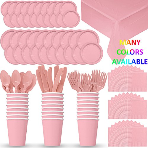 (HeroFiber Disposable Paper Dinnerware for 24 - Light Pink - 2 Size Plates, Cups, Napkins , Cutlery (Spoons, Forks, Knives), and tablecovers - Full Party Supply Pack)