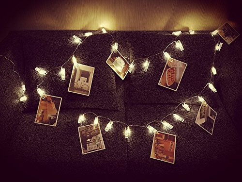 30 Led Photo Clip String Lighs, Fairy String Lights, Fun and Cute, USB Powered, Warm White - for Bedroom Hanging Pictures Photos Cards