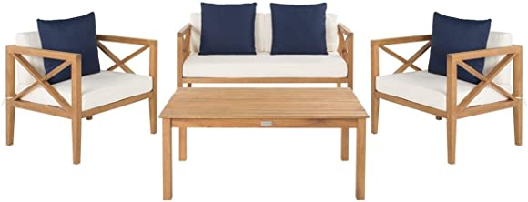 Safavieh PAT7031A Collection Nunzio Teak and White and Navy 4 Pc Accent Pillows Outdoor Set