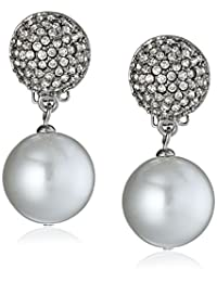Kenneth Jay Lane Bride Simulated Pearl Fireball Crystal Dangle Clip-On Earrings