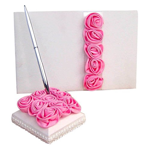 2Pcs Wedding Guest Book Pen and Stand Set, Celebration Wedding Signature Book Pen Set, Silk Rose Flower Decoration Guest Book with Pen & Holder, Romantic Wedding Ceremony Baby Shower Party Favors (Flower Pen Wedding Shower Favors)