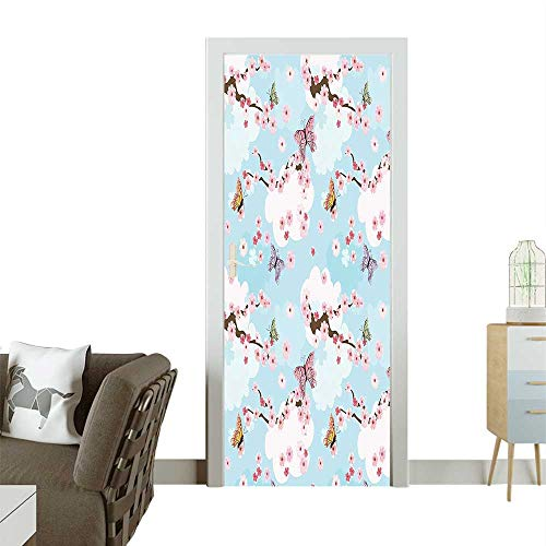 Door Art Sticker Spring Flower Birds ening Sublime Sky Scenery Charm Home Pink Blue Room decorationW17.1 x H78.7 INCH