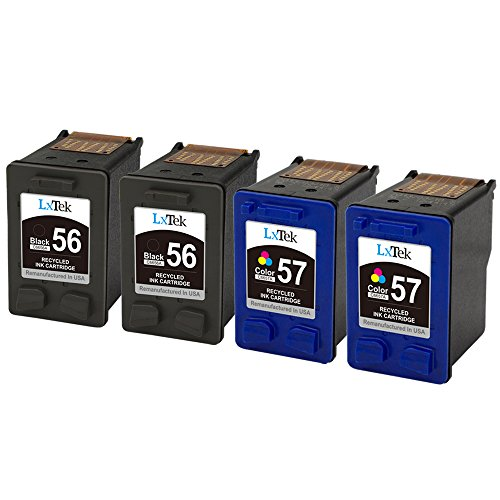 LxTek Remanufactured Ink Cartridge Replacement For HP 56 & HP 57 (2 Black | 2 Tri-Color) C6656AN C6657AN