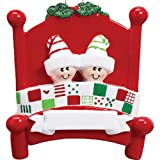 Personalized Bed Heads Family of 2 Christmas Ornament for Tree 2018 - Couple Twin Sibling in Pattern Quilt Red Board with Strip Sleep Hat Mistletoe - Grandchild Kid Cousin - Free Customization (Two)
