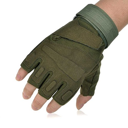 Adiew Fingerless Military Tactical Airsoft Hunting Riding Cycling Glove Anti-Vibration Mountain Bike Half Finger Slip-Proof Motorcycle Road Racing Bicycle Glove Shockproof Outdoor Sports Short Glove