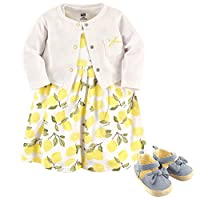 Hudson Baby Girl Cardigan, Dress and Shoes, 3-Piece Set, Lemons, 6-9 Months (9M)