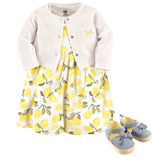Hudson Baby Baby Girl Cotton Dress, Cardigan and Shoe Set, Lemon, 6-9 Months