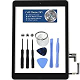 Black iPad Air Digitizer Replacement Screen Front Touch Glass Assembly Replacement - Includes Home Button + Camera Holder + Pre-Installed Adhesive with Tools – Repair Kit by Cell Phone DIY
