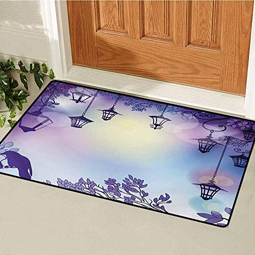 GUUVOR Lantern Inlet Outdoor Door mat Ancient Street in a Sinister Violet Environment Raven on a Branch Night Catch dust Snow and mud W31.5 x L47.2 Inch Violet Multicolor ()