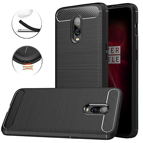 OnePlus 6T Case, Dretal Carbon Fiber Shock Resistant Brushed Texture Soft TPU Phone case Anti-Fingerprint Flexible Full-Body Protective Cover for OnePlus 6T (6.4 Inches) (Black)