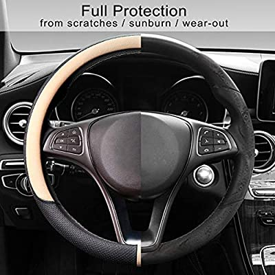 COFIT Breathable and Non Slip Microfiber Leather Steering Wheel Cover Universal M 14 1/2-15 1/3 Inch - Beige and Black: Automotive