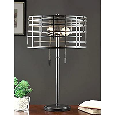 Industrial Style Lamp,Round,Table Lamp,Spiral Round Table Lamp,Living Room, Use on a Nightstand or Bedside Table,Table Lamps for Living Room or Bedroom.