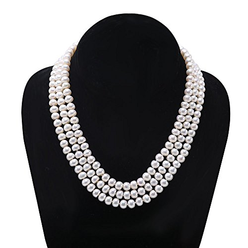 JYX 3-row 6-7mm Flatly Round White Freshwater Cultured Pearl Necklace (Triple Freshwater Pearl Strand Necklace)