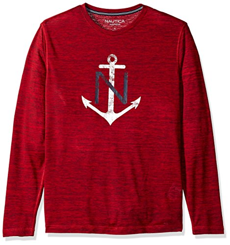 Sleep Tee Long Sleeve (Nautica Men's Long Sleeve Graphic Sleep Tee, Red, Medium)