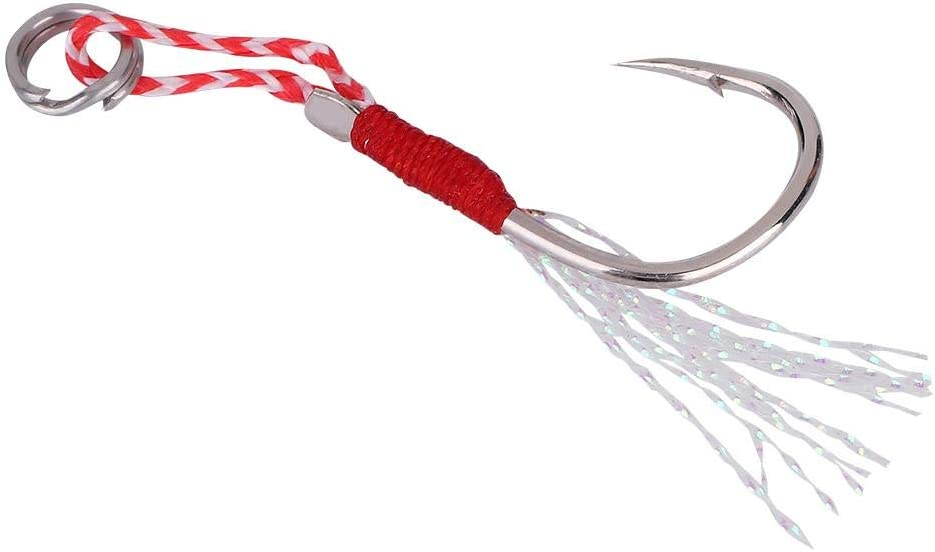 5pcs Ganchos de Pesca Heavy Duty Metal Ganchos de Pesca con Pluma para Accesorios de Pesca Aparejos