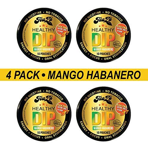 TeaZa Mango Habanero Healthy Dip, Herbal Energy Supplement, 10 Count, 4 Pucks (40)