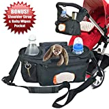 Universal Stroller Organizer with Easy Access to Wipes - Perfectly Sized Zipper Pockets & Insulated Cup Holders - Jogging Bag Accessories for Moms by Angel Baby