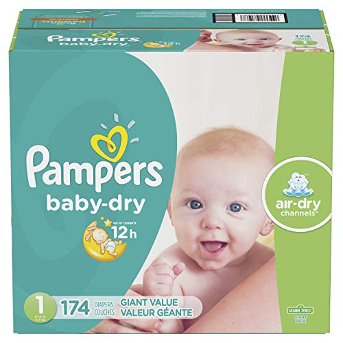 Diapers Size 1/Newborn (8-14 lbs), 174 Count – Pampers Baby Dry Disposable Baby Diapers, Giant Pack