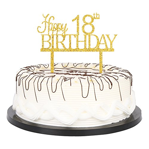 - YUINYO Happy 18th Birthday Cake Topper Gold 18th Birthday Party Decoration Supplies Calligraphy Bling Cake Decoration Sign Party Banner