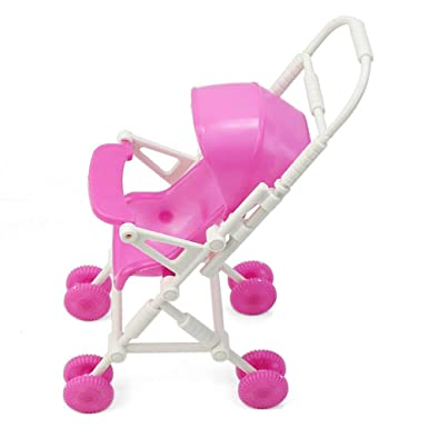 Newin Star Dollhouse cochecito de bebé Modelo de plástico en miniatura del carro del cochecito para muñecas Barbie Accesorios de muebles - rosa: Amazon.es: ...