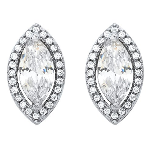Marquise-Cut White Cubic Zirconia Silvertone Halo Stud Earrings