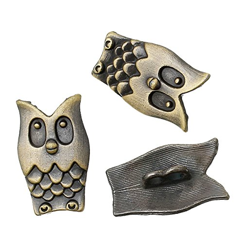 Rockin Beads 19 Owl Antiqued Brass Plated Zinc Sewing Metal Shank Buttons 1-5/8 Inch - Antiqued Brass Metal Beads