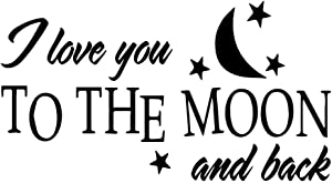 MOVANKRO I Love You to The Moon and Back Quotes Wall Sticker Home Décor Baby Room Nursery Cartoon Art Murals