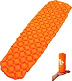 OutdoorsmanLab Ultralight Sleeping Pad - Ultra-Compact for Backpacking, Camping, Travel w/ Super Comfortable Air-Support Cells Design (Orange)