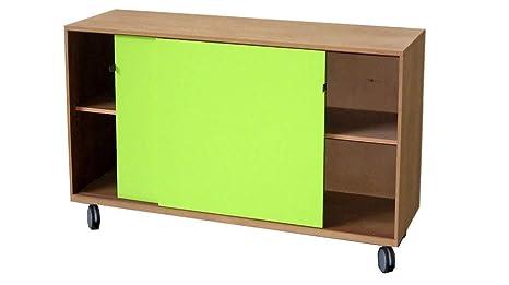 Credenza Con Porte Scorrevoli : Credenza cassettiera con ruote in legno 2 porte scorrevoli