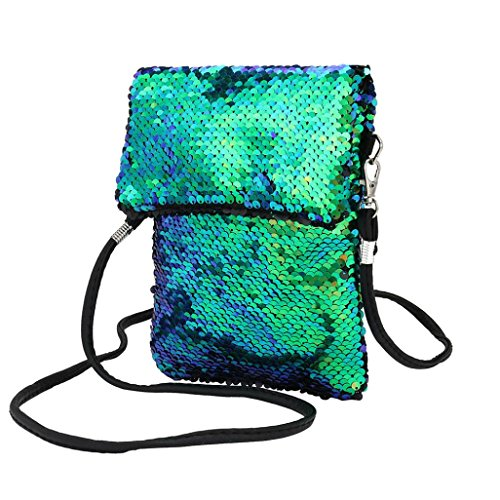 Girls Handbags, squarex Fashion Outdoor Solid Color Sequins Handbag Shoulder Bag Tote Ladies Purse Green