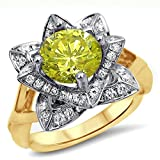 Smjewels 1.50 Ct Yellow Round Sim.Diamond Lotus Flower Engagement Ring 14K Yellow Gold Plated