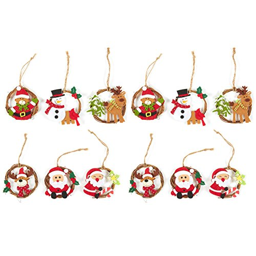 (Juvale 12-Pack of Christmas Tree Decorations - Miniature Christmas Decoration Ornaments, Festive Embellishments in 6 Assorted)